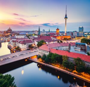 Berlin, Germany at sunset.