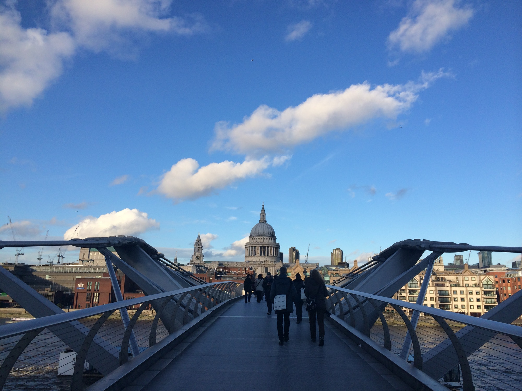 People on the Millennium Bridge, London, UK