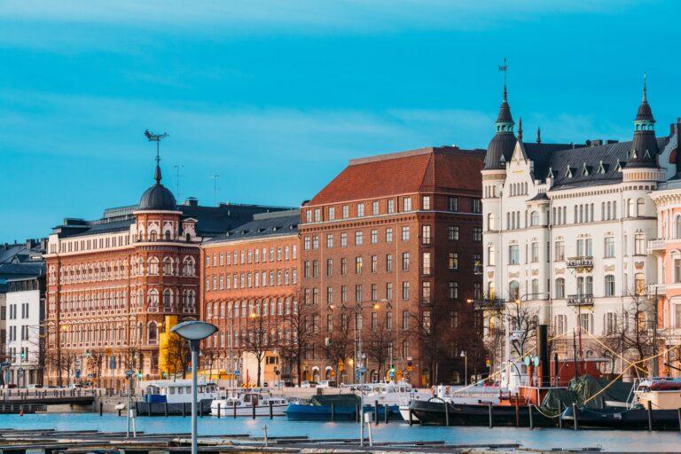 Helsinki, Finland. View Of Pohjoisranta Street