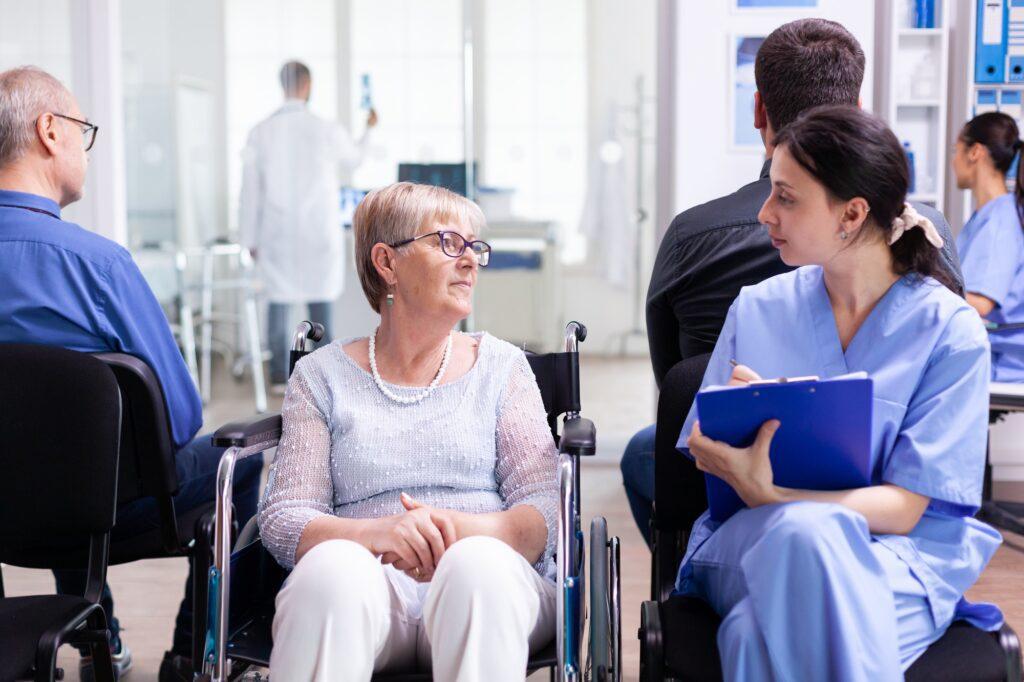 Nurse filing documents
