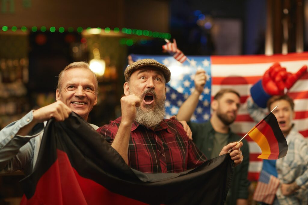 German fans having fun in the bar
