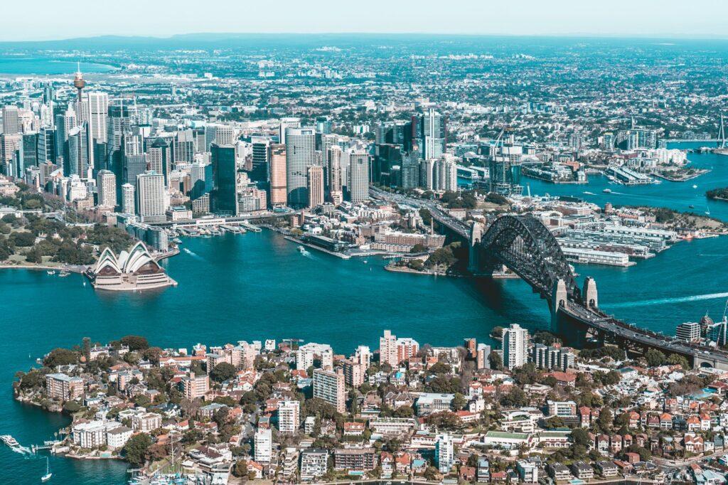Top view of Sydney Australia, opera house, Sydney harbour bridge, city of Sydney
