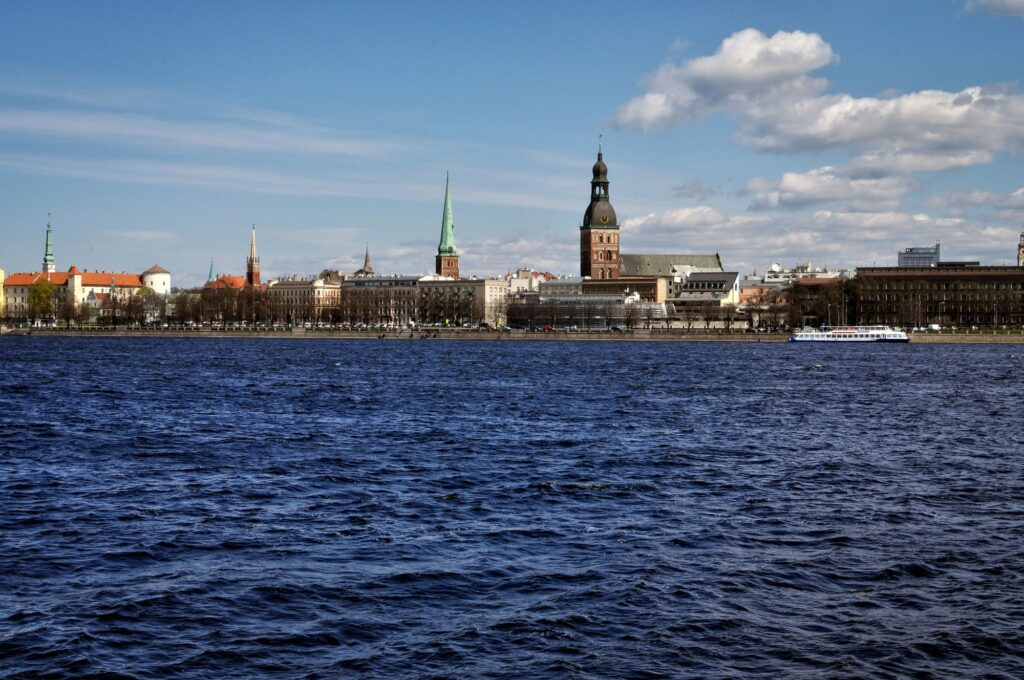 Latvia. Riga panorama from the river side.