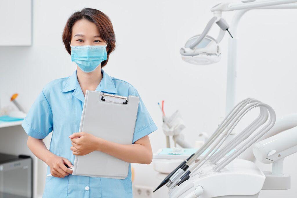 Medical nurse in dentist office