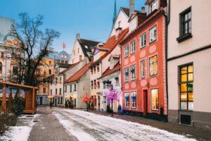 Riga, Latvia. Decorated Facades Of Old Houses On Meistaru Street